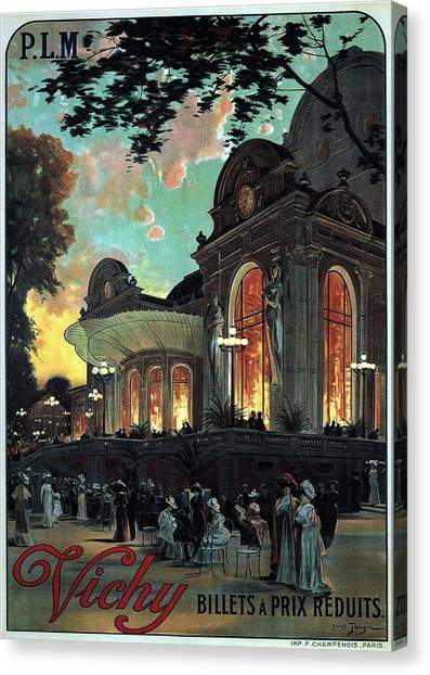 Vintage Railroad Canvas Print - Vichy, France - Billets A Prix Reduits - Retro Travel Poster - Vintage Poster by Studio Grafiikka