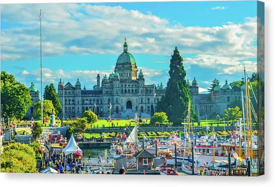 Victoria Bc Parliament Harbor Canvas Print