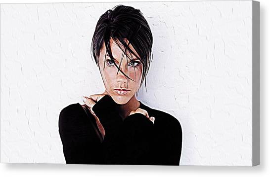 David Beckham Canvas Print - Victoria Beckham by Queso Espinosa