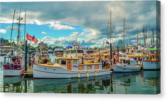 Victoria Harbor Old Boats Canvas Print