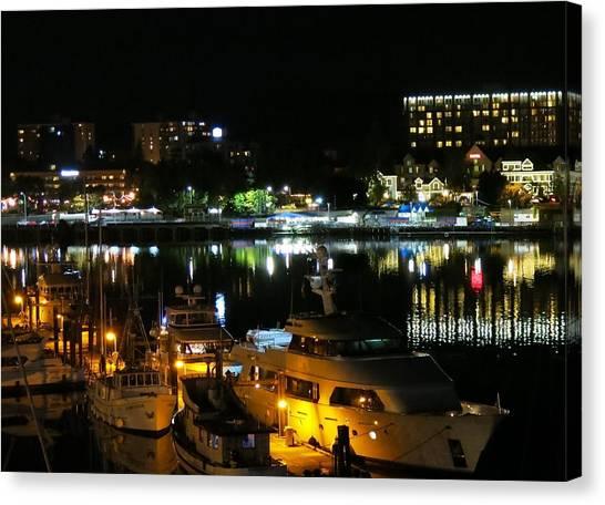 Victoria Inner Harbor At Night Canvas Print