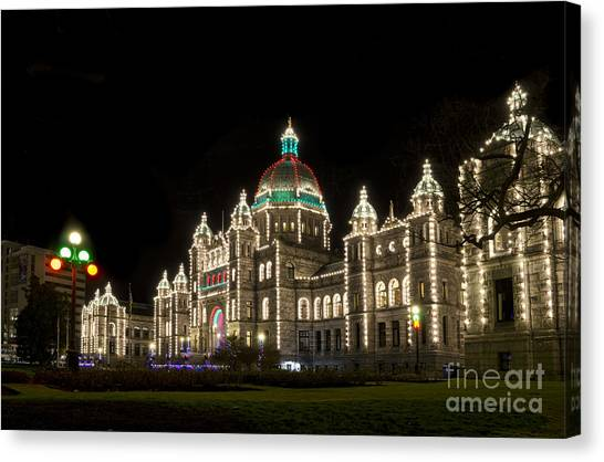 Victoria Parliament Buildings At Night At Christmas Canvas Print
