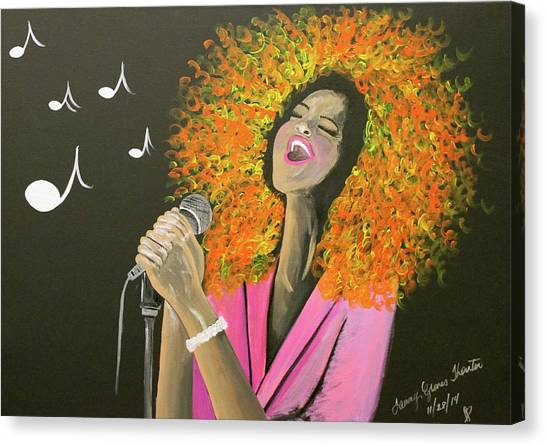Sigma Gamma Rho Canvas Print - Victoria Sings Her Heart Out by Tammy Groves Thornton