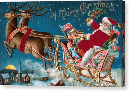 Mistletoe Canvas Print - Victorian Christmas Card by American School