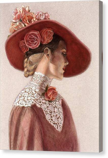 Red Roses Canvas Print - Victorian Lady In A Rose Hat by Sue Halstenberg