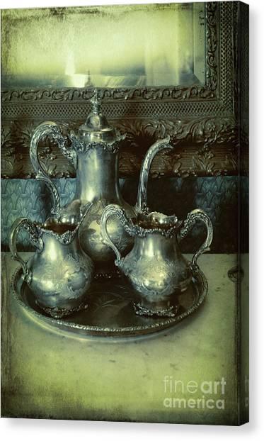 Tea Set Canvas Print - Victorian Silver Tea Service by Jill Battaglia