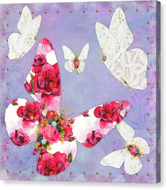 Woodland Canvas Print - Victorian Wings, Fantasy Floral And Lace Butterflies by Tina Lavoie