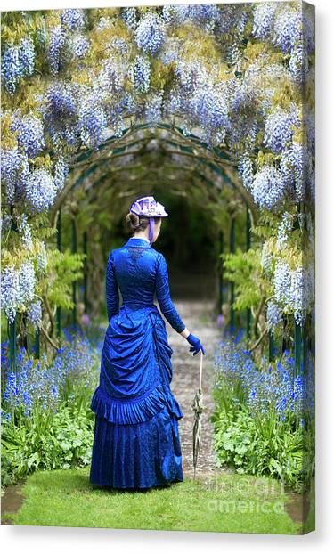 Victorian Woman With Wisteria Canvas Print