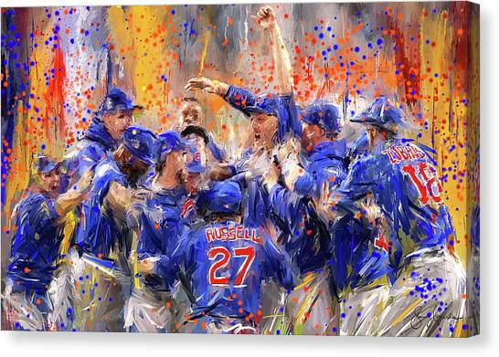 Baseball Players Canvas Print - Victory At Last - Cubs 2016 World Series Champions by Lourry Legarde
