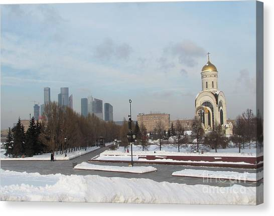 Moscow Skyline Canvas Print - Victory Park In Moscow by Anna Yurasovsky
