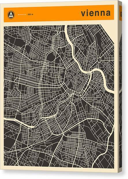 Vienna Canvas Print - Vienna Map by Jazzberry Blue