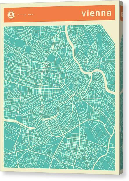 Vienna Canvas Print - Vienna Street Map by Jazzberry Blue