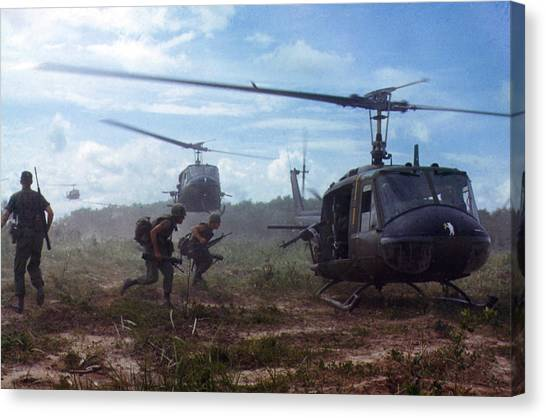 Mission Canvas Print - Vietnam War, Uh-1d Helicopters Airlift by Everett
