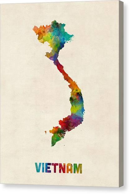 Vietnamese Canvas Print - Vietnam Watercolor Map by Michael Tompsett
