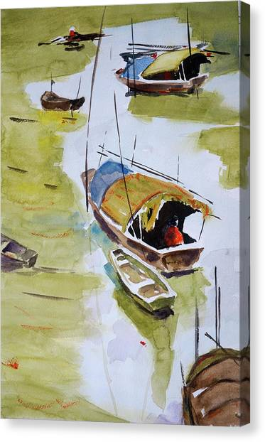 Vietnamese Sampans Canvas Print