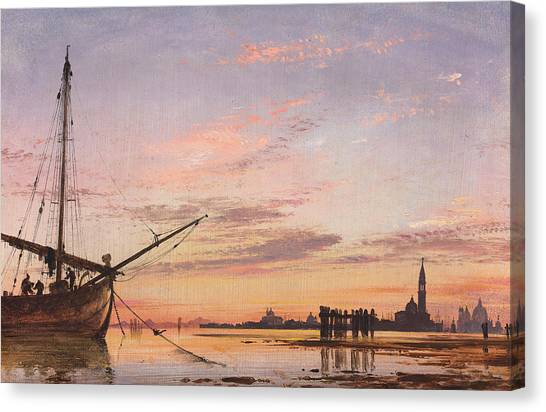 Sunset Horizon Canvas Print - View Across The Lagoon, Venice, Sunset by Edward William Cooke