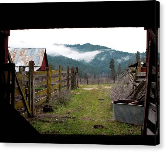 Canvas Print featuring the photograph View From A Barn by Lorraine Devon Wilke
