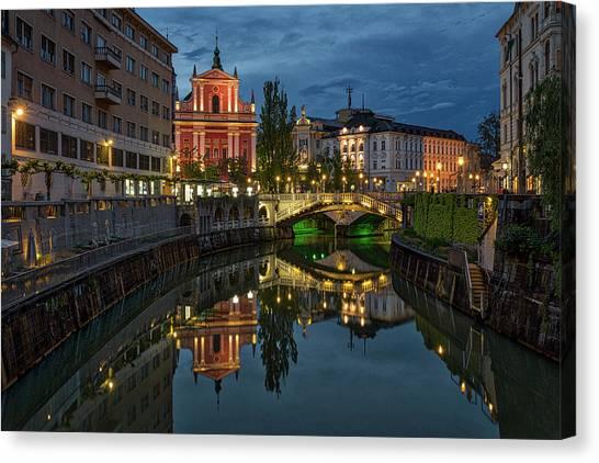 Ljubljana Canvas Print - View From A Bridge - Ljubljana - Slovenia by Stuart Litoff