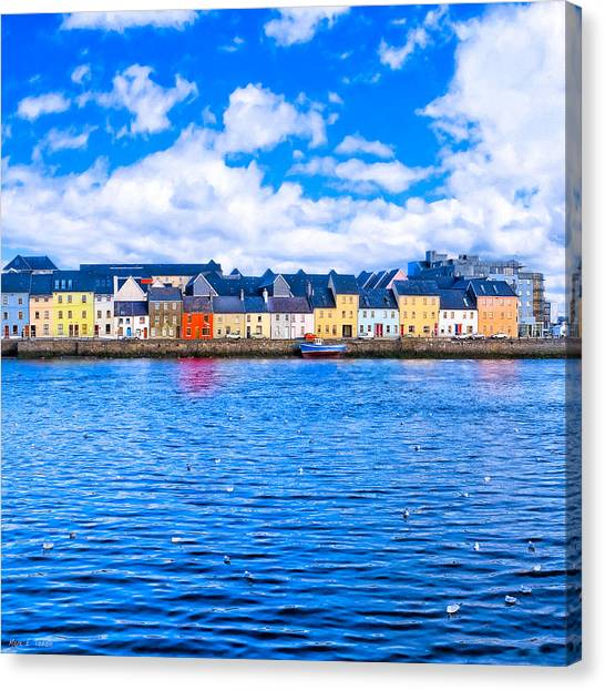 Canvas Print featuring the photograph View From Claddagh Quay - Galway by Mark E Tisdale