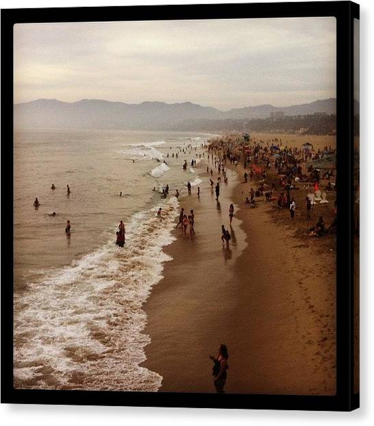 Santa Monica Pier Canvas Print - View From Santa Monica Pier by Emily B