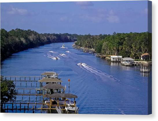 Jet Skis Canvas Print - View From The Bridge Of Lions by DigiArt Diaries by Vicky B Fuller