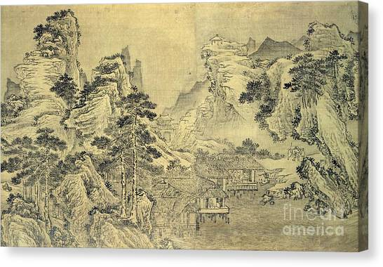 Korean Canvas Print - View From The Keyin Pavilion On Paradise - Baojie Mountain by Wang Wen