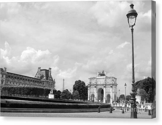 Le Louvre Canvas Print - View From The Louvre In Black And White by Angela Rath