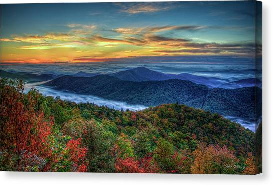 Pisgah National Forest Canvas Print - View From The Top Blue Ridge Mountain  Parkway Sunrise Art by Reid Callaway