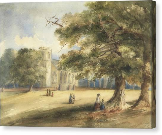 Church Yard Canvas Print - View Of A Churchyard, Southborough, Kent by Anonymous