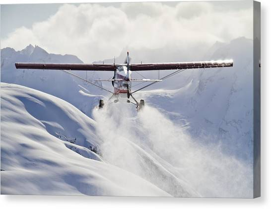 Winter Scenery Canvas Print - View Of A Super Cub Air Taxi At Tanaina by Joe Stock