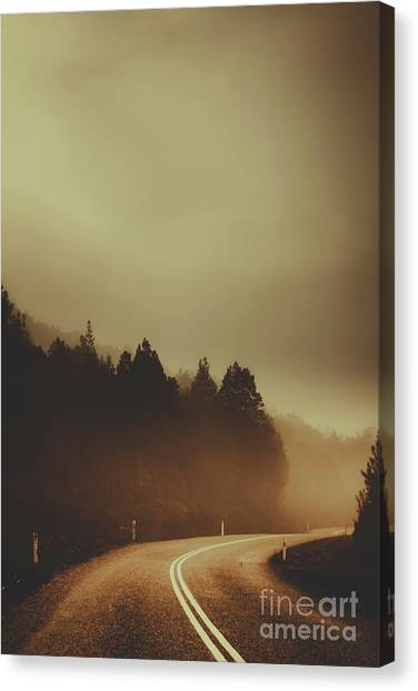 Foggy Forests Canvas Print - View Of Abandoned Country Road In Foggy Forest by Jorgo Photography - Wall Art Gallery