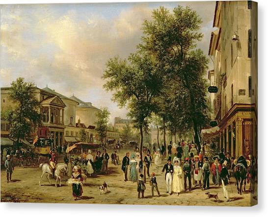 Horse And Carriage Canvas Print - View Of Boulevard Montmartre by Guiseppe Canella