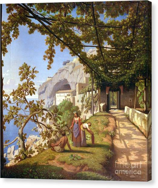 Overhang Canvas Print - View Of Capri by Theodore Aligny