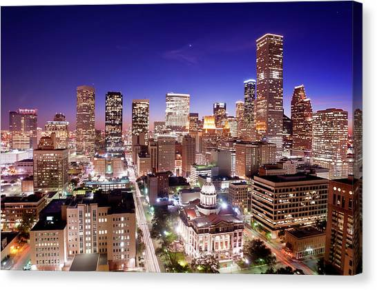 Houston Canvas Print - View Of Cityscape by jld3 Photography