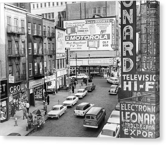 View Of Doomed Stores Of Radio Row In Manhattan New York. 1962. Canvas Print by Anthony Calvacca