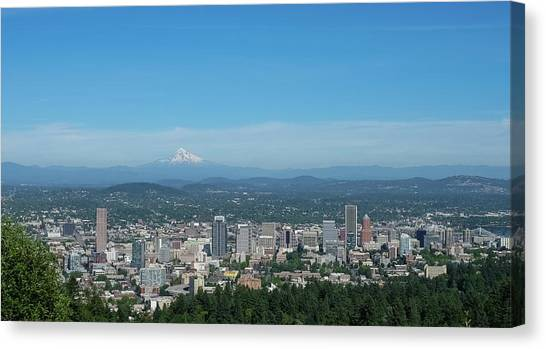 View Of Downtown Portland Oregon From Pittock Mansion Canvas Print