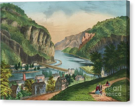 Currier And Ives Canvas Print - View Of Harpers Ferry, Virginia by Currier and Ives