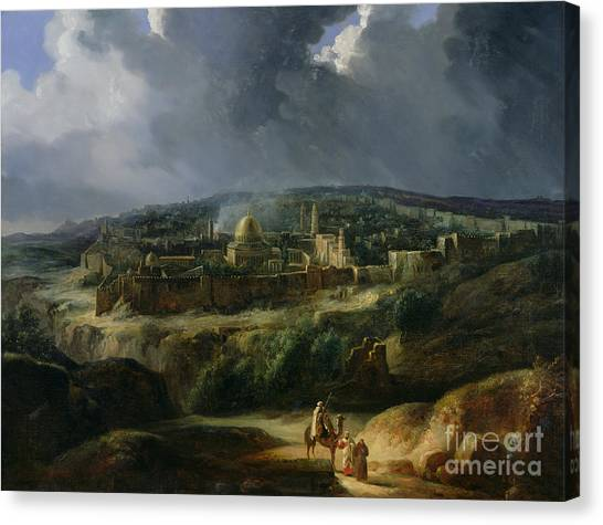 Israeli Canvas Print - View Of Jerusalem From The Valley Of Jehoshaphat by Auguste Forbin
