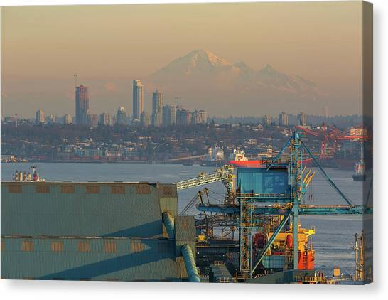 Canvas Print - View Of Mount Baker And Vancouver Bc At Sunset by David Gn