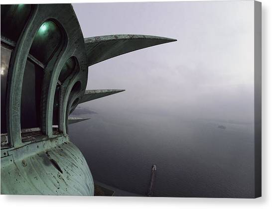 Statue Canvas Print - View Of New York Harbor From The Top by Paul Chesley