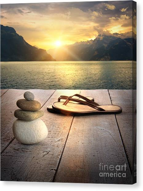 Peace Tower Canvas Print - View Of Sandals And Rocks On Dock  by Sandra Cunningham