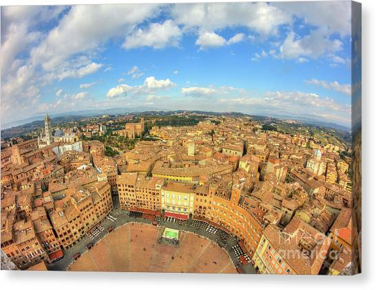 Canvas Print featuring the photograph View Of Siena From Torre Del Mangia by Spencer Baugh