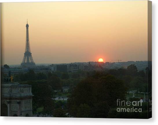 View Of Sunset From The Louvre Canvas Print