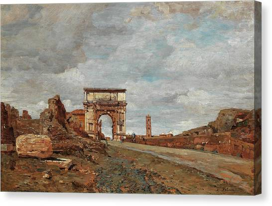 The Forum Canvas Print - View Of The Arch Of Titus Vespasian And Surrounding Ruins In The Forum Romanum by Tina Blau