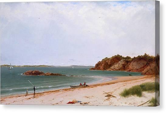 John Boats Canvas Print - View Of The Beach At Beverly Massachusetts by Treasury Classics Art