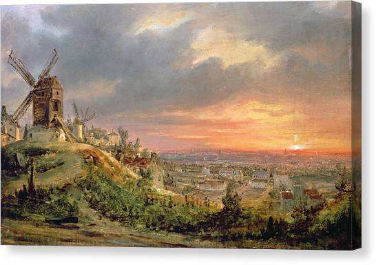 City Sunsets Canvas Print - View Of The Butte Montmartre by Louis Jacques Mande Daguerre