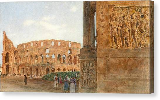 The Colosseum Canvas Print - View Of The Colosseum From The Arch Of Constantine. Rome by Rudolf von Alt