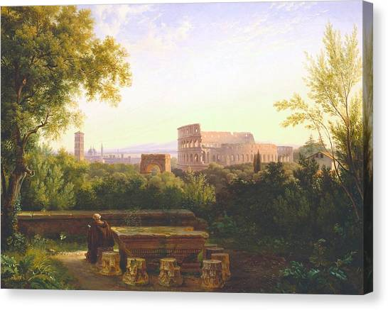 The Amphitheatre Canvas Print - View Of The Colosseum From The Orti Farnesiani by Antoine Felix Boisselier