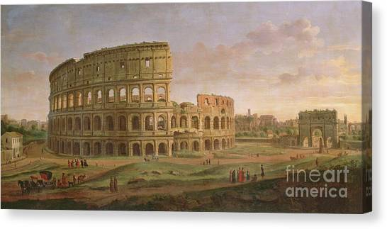 The Colosseum Canvas Print - View Of The Colosseum With The Arch Of Constantine by Gaspar van Wittel