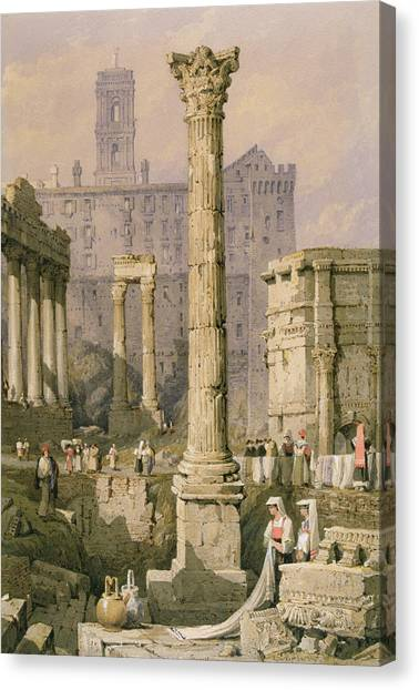 The Forum Canvas Print - View Of The Forum, Rome  by Samuel Prout